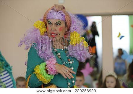 Belarus, the city of Gomel,May 24, 2017,Zyabrovsky kindergarten, graduation day.Woman in a Transvestite Costume