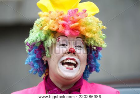 Belarus, the city of Gomel,May 24, 2017,Zyabrovsky kindergarten, graduation day.A woman clown laughs gaily.Joyful children's clown