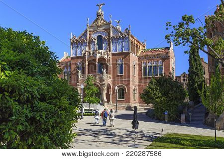 BARCELONA, SPAIN - MAY 12, 2017: This is Operations House of former hospital Sant Pau, which is one of the masterpieces of modernist architecture.