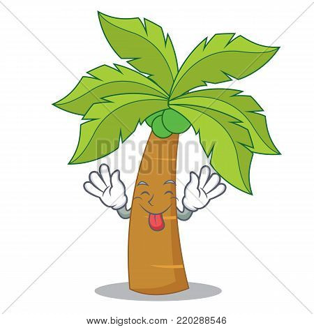 Tongue out palm tree character cartoon vector illustration