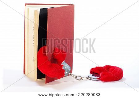 erotic novel handcuff and book literary genre red library