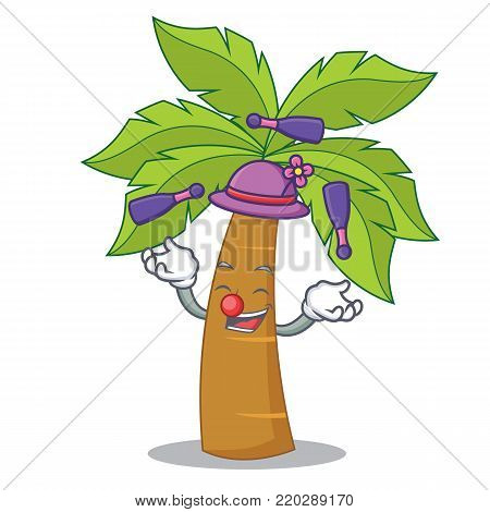 Juggling palm tree character cartoon vector illustration