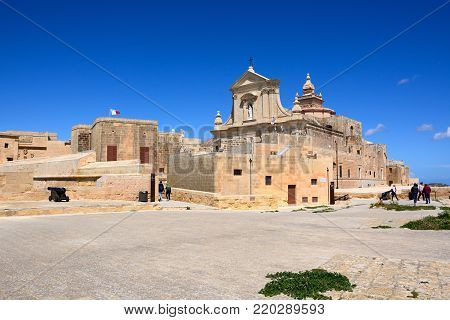 VICTORIA, GOZO, MALTA - APRIL 3, 2017 - View of part of the citadel and Cathedral, Victoria (Rabat), Gozo, Malta, Europe, April 3, 2017.