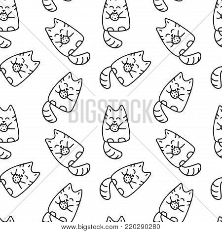 Scetched doodle black and white seamless pattern with cats. Emoticat collection hand drawn imitation. Prankster pet  illustration