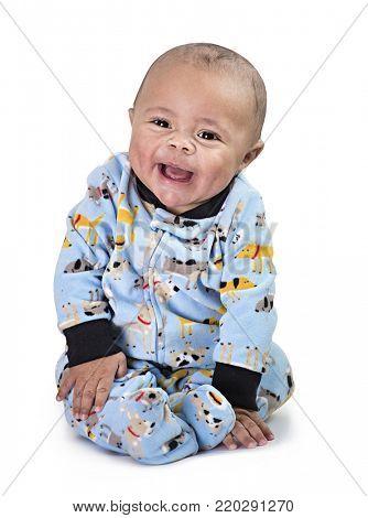 Full length Portrait of smiling black baby boy isolated on black background