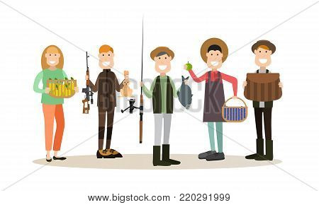 Vector illustration of hunter, fisher, man with blueberries and woman with apples. Hunter people flat style design elements, icons isolated on white background.