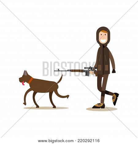 Vector illustration of hunter with rifle walking with his hunting dog. Hunter people flat style design element, icon isolated on white background.