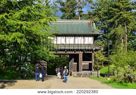 Aomori, Japan - May 16, 2017. People visit Hirosaki Castle at summer in Aomori, Japan. Hirosaki Castle (Hirosaki-jo) is a hirayama-style Japanese castle constructed in 1611.