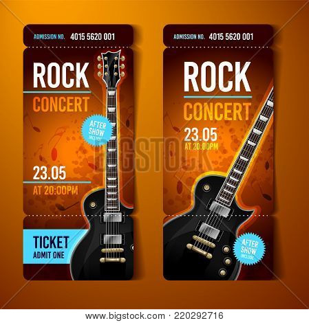 vector illustration orange rock concert ticket design template with guitar and cool splash effects in the background
