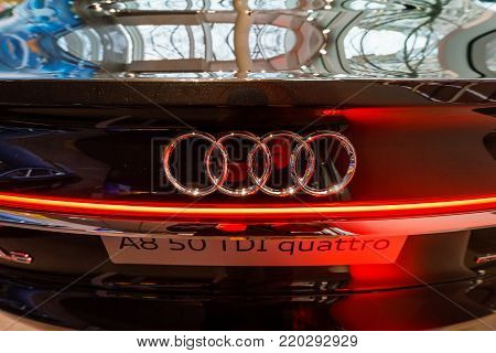 BERLIN - DECEMBER 21, 2017: Showroom. Detail of the full-size luxury car Audi A8 3.0 TDI quattro (286PS). Since 2018.