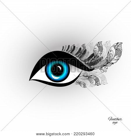 Beautiful feather eye with long eyelashes. Sample  for a beauty salon or eyelash extension and exotic design