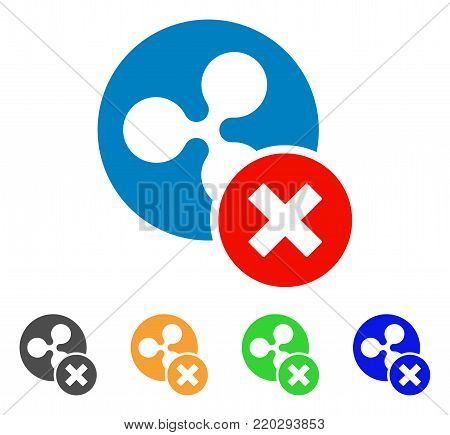 Cancel Ripple icon. Vector illustration style is a flat iconic cancel ripple symbol with grey, yellow, green, blue color variants. Designed for web and software interfaces.