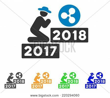 Gentleman Pray Ripple 2018 icon. Vector illustration style is a flat iconic gentleman pray ripple 2018 symbol with gray, yellow, green, blue color versions. Designed for web and software interfaces.