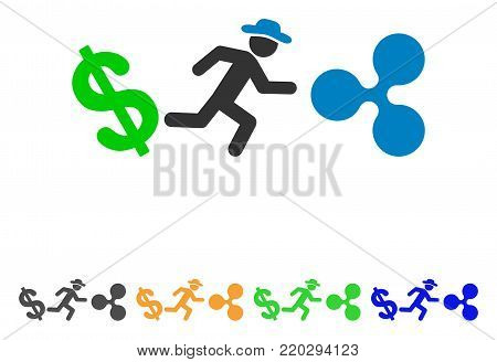 Gentleman Run From Dollar To Ripple icon. Vector illustration style is a flat iconic gentleman run from dollar to ripple symbol with grey, yellow, green, blue color versions.