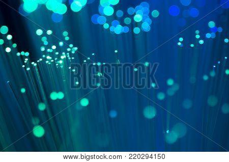 Blue optical fibre close up macro shot background image .