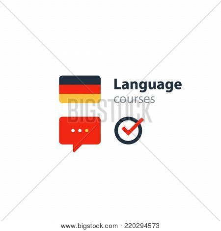 German language class concept icon set and flag logo, language exchange program, forum and international communication sign. Flat design vector illustration