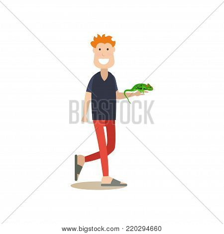 Vector illustration of man holding in his arm green lizard iguana. Pet owner and his pet reptile flat style design element, icon isolated on white background.
