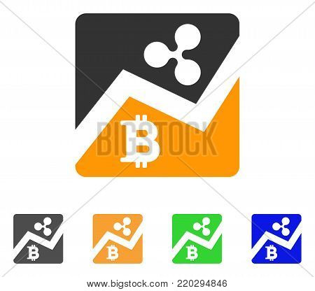 Ripple Bitcoin Exchange Market icon. Vector illustration style is a flat iconic ripple bitcoin exchange market symbol with grey, yellow, green, blue color versions.