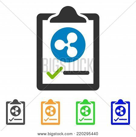 Ripple Contract Pad icon. Vector illustration style is a flat iconic ripple contract pad symbol with grey, yellow, green, blue color versions. Designed for web and software interfaces.