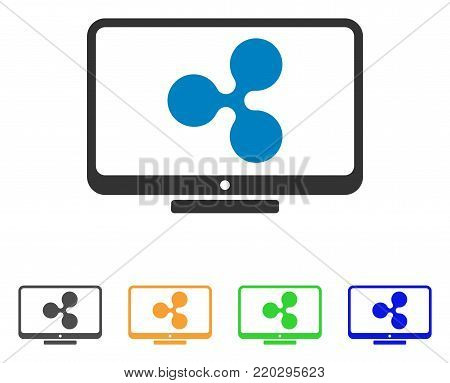 Ripple Display icon. Vector illustration style is a flat iconic ripple display symbol with gray, yellow, green, blue color versions. Designed for web and software interfaces.