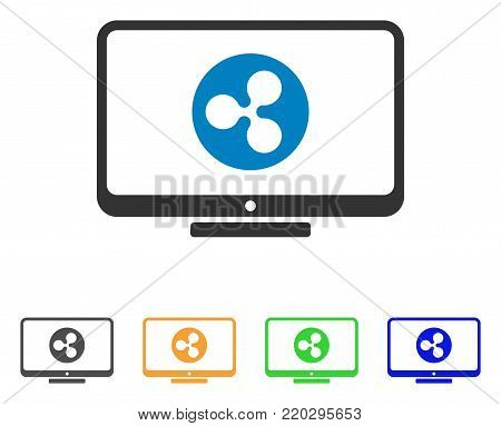 Ripple Display icon. Vector illustration style is a flat iconic ripple display symbol with grey, yellow, green, blue color versions. Designed for web and software interfaces.