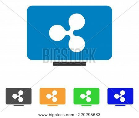 Ripple Display icon. Vector illustration style is a flat iconic ripple display symbol with gray, yellow, green, blue color variants. Designed for web and software interfaces.