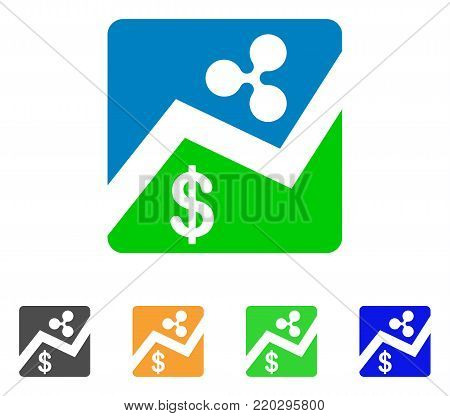 Ripple Dollar Exchange Market icon. Vector illustration style is a flat iconic ripple dollar exchange market symbol with gray, yellow, green, blue color versions.