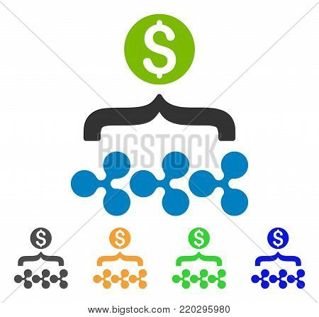 Ripple Dollar Funnel icon. Vector illustration style is a flat iconic ripple dollar funnel symbol with gray, yellow, green, blue color variants. Designed for web and software interfaces.