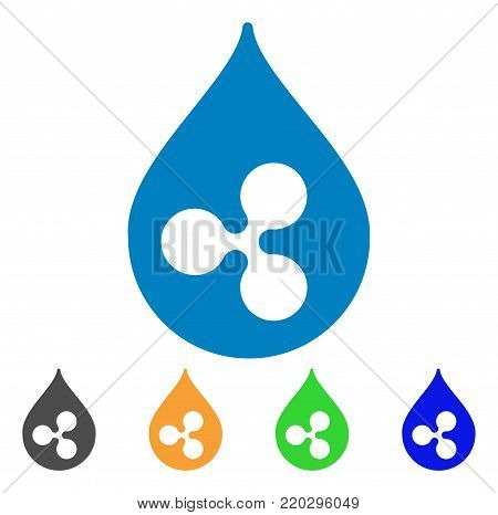 Ripple Drop icon. Vector illustration style is a flat iconic ripple drop symbol with grey, yellow, green, blue color variants. Designed for web and software interfaces.