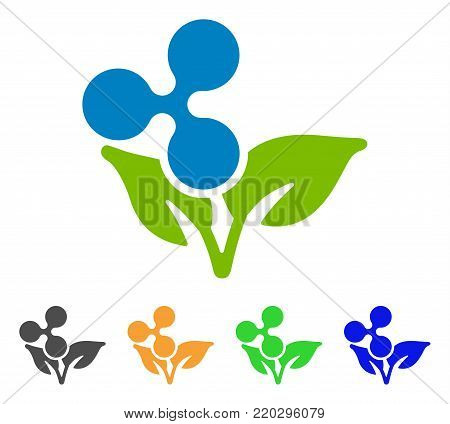 Ripple Eco Startup icon. Vector illustration style is a flat iconic ripple eco startup symbol with grey, yellow, green, blue color versions. Designed for web and software interfaces.