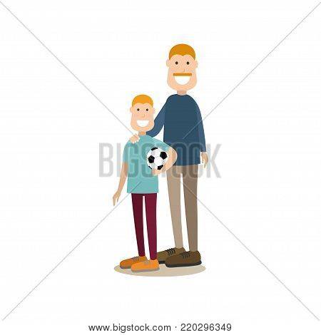 Vector illustration of father with his son holding ball. Childcare and parenting, people and relations concept flat style design element, icon isolated on white background.
