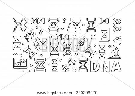 Vector DNA horizontal banner. Deoxyribonucleic acid concept linear illustration