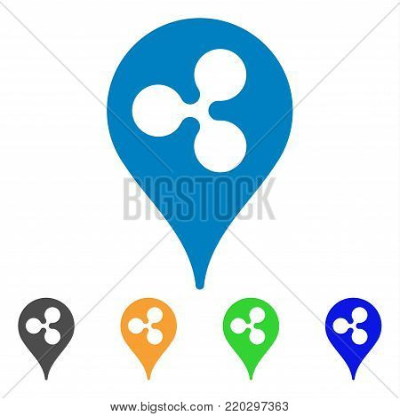 Ripple Pointer icon. Vector illustration style is a flat iconic ripple pointer symbol with grey, yellow, green, blue color variants. Designed for web and software interfaces.