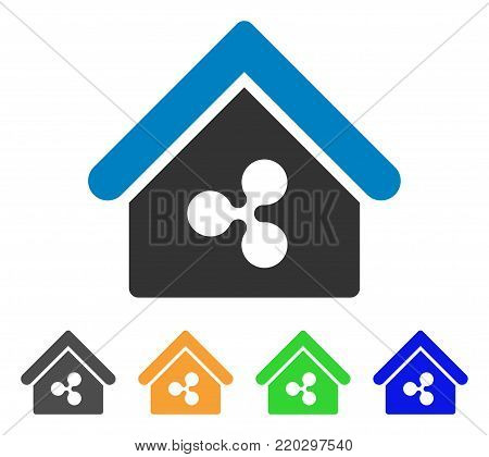 Ripple Realty icon. Vector illustration style is a flat iconic ripple realty symbol with gray, yellow, green, blue color variants. Designed for web and software interfaces.