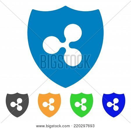 Ripple Shield icon. Vector illustration style is a flat iconic ripple shield symbol with gray, yellow, green, blue color versions. Designed for web and software interfaces.