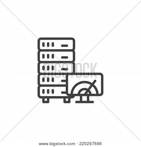 Database, server and speedometer on screen line icon, outline vector sign, linear style pictogram isolated on white. Server speed test symbol, logo illustration. Editable stroke
