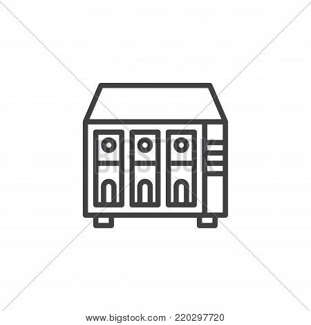 NAS server line icon, outline vector sign, linear style pictogram isolated on white. Rack units, servers symbol, logo illustration. Editable stroke