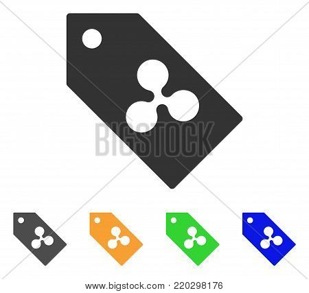 Ripple Token icon. Vector illustration style is a flat iconic ripple token symbol with grey, yellow, green, blue color variants. Designed for web and software interfaces.