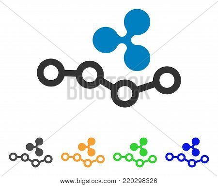 Ripple Trend icon. Vector illustration style is a flat iconic ripple trend symbol with gray, yellow, green, blue color variants. Designed for web and software interfaces.