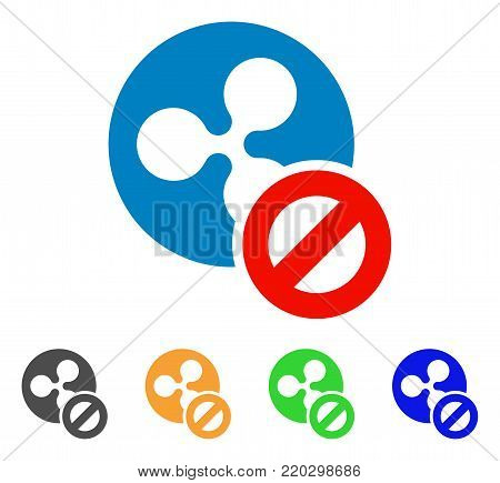 Wrong Ripple Coin icon. Vector illustration style is a flat iconic wrong ripple coin symbol with gray, yellow, green, blue color versions. Designed for web and software interfaces.
