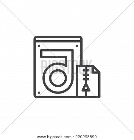 Store compressed folder and hdd line icon, outline vector sign, linear style pictogram isolated on white. Hard drive data recovery symbol, logo illustration. Editable stroke