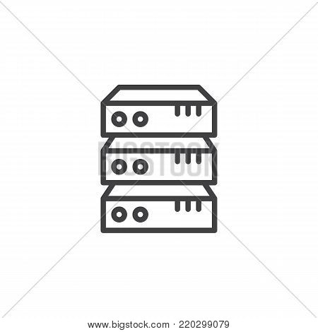 Computer server line icon, outline vector sign, linear style pictogram isolated on white. Data center symbol, logo illustration. Editable stroke