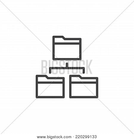 Network folders line icon, outline vector sign, linear style pictogram isolated on white. Directory structure symbol, logo illustration. Editable stroke