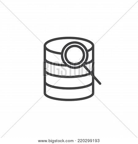 Search database line icon, outline vector sign, linear style pictogram isolated on white. Computer storage database and magnifier symbol, logo illustration. Editable stroke