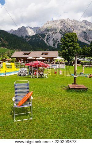 Ramsau Am Dachstein, Austria - August 17: People Relaxing In Rittisberg Amusement Park With Dachstei