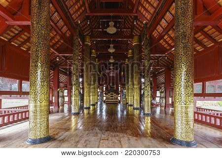 Buriram ,Thailand - December 28 , 2017 : Beautiful interior Ubosoth of Pa Lahan Sai temple enshrines a Buddha statue made of translucent jade from Myanmar