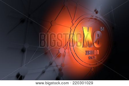 Xenon chemical element. Sign with atomic number and atomic weight. Chemical element of periodic table. Molecule and communication background. Connected lines with dots. 3D rendering