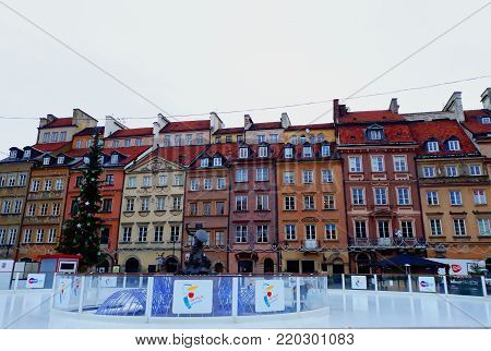 Warsaw, Poland - 15 December 2017: Market square in the Old Town of Warsaw decorated for Christmas
