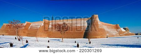 winter panoramic view to Ark fortress of Bukhara in Uzbekistan
