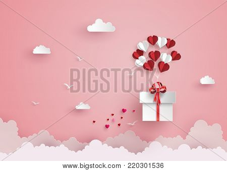 Illustration of love and valentine day, balloon heart shape hang the  gift box float on the sky.paper art style.